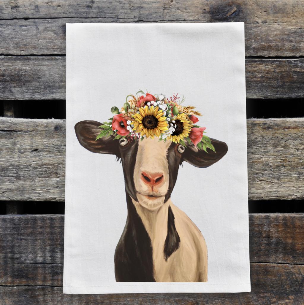 Colorful Sunflower Goat Tea Towel, Farmhouse Towel Decor   Trada Marketplace