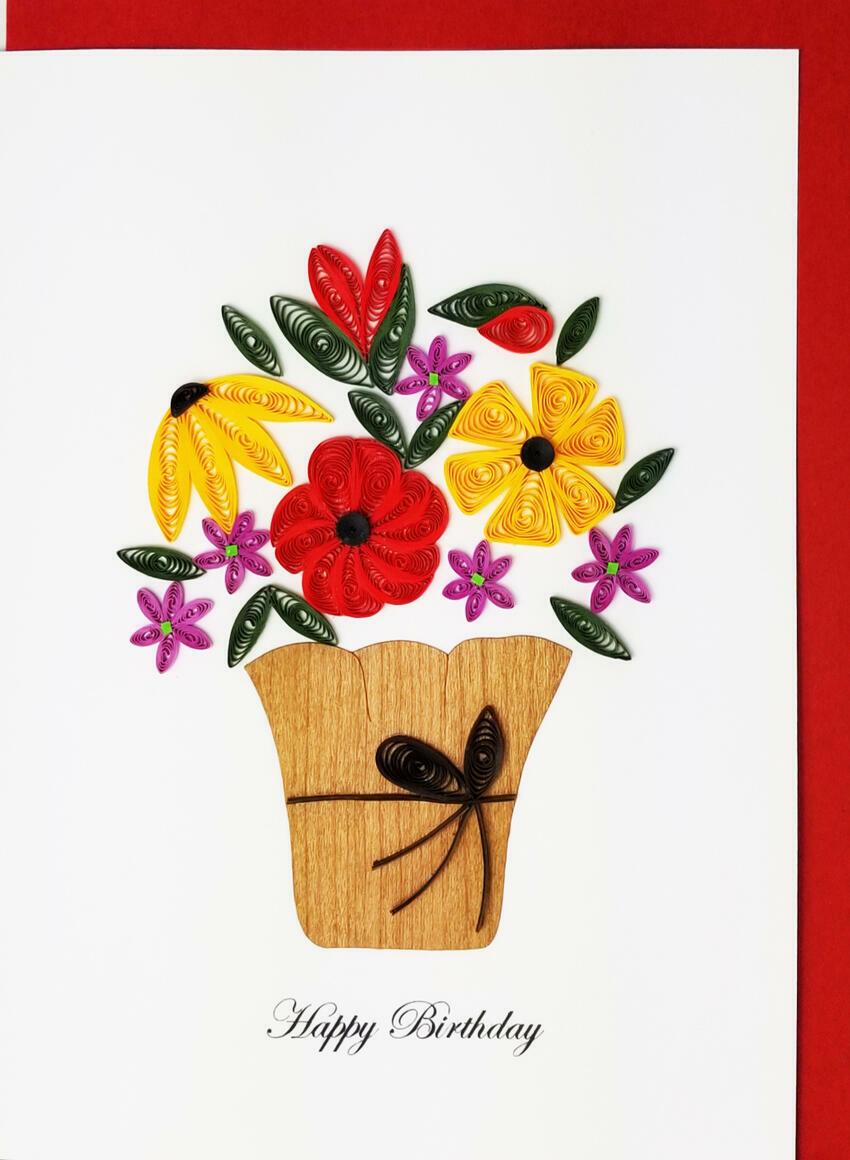 Happy Birthday Flower Pot   Trada Marketplace