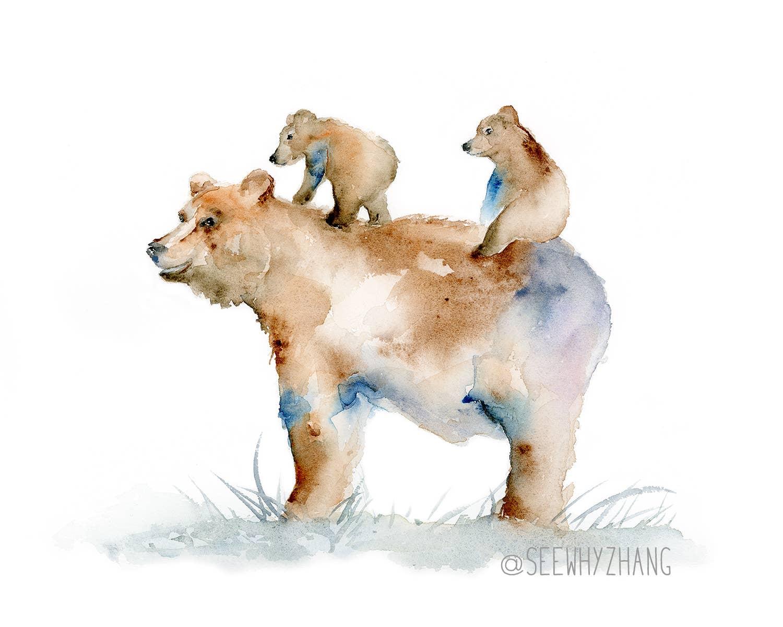 Bear Mama and Cubs Art Print | Trada Marketplace