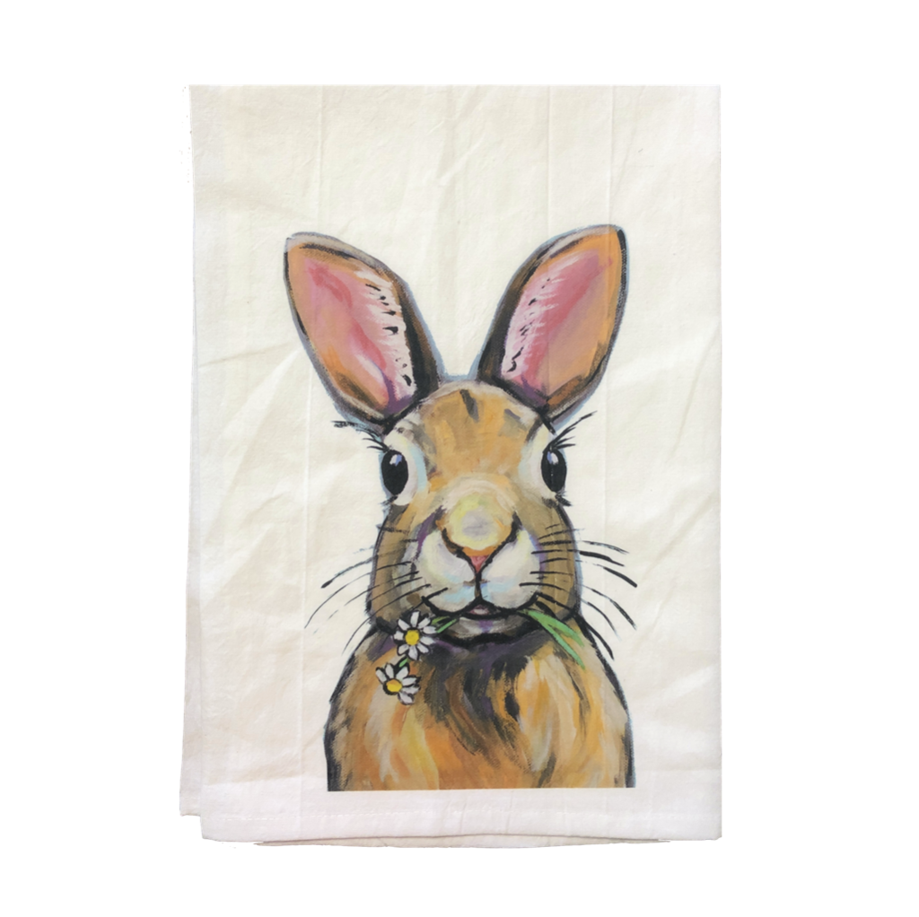 Easter Tea Towel, Rabbit Flour Sack Towel   Trada Marketplace