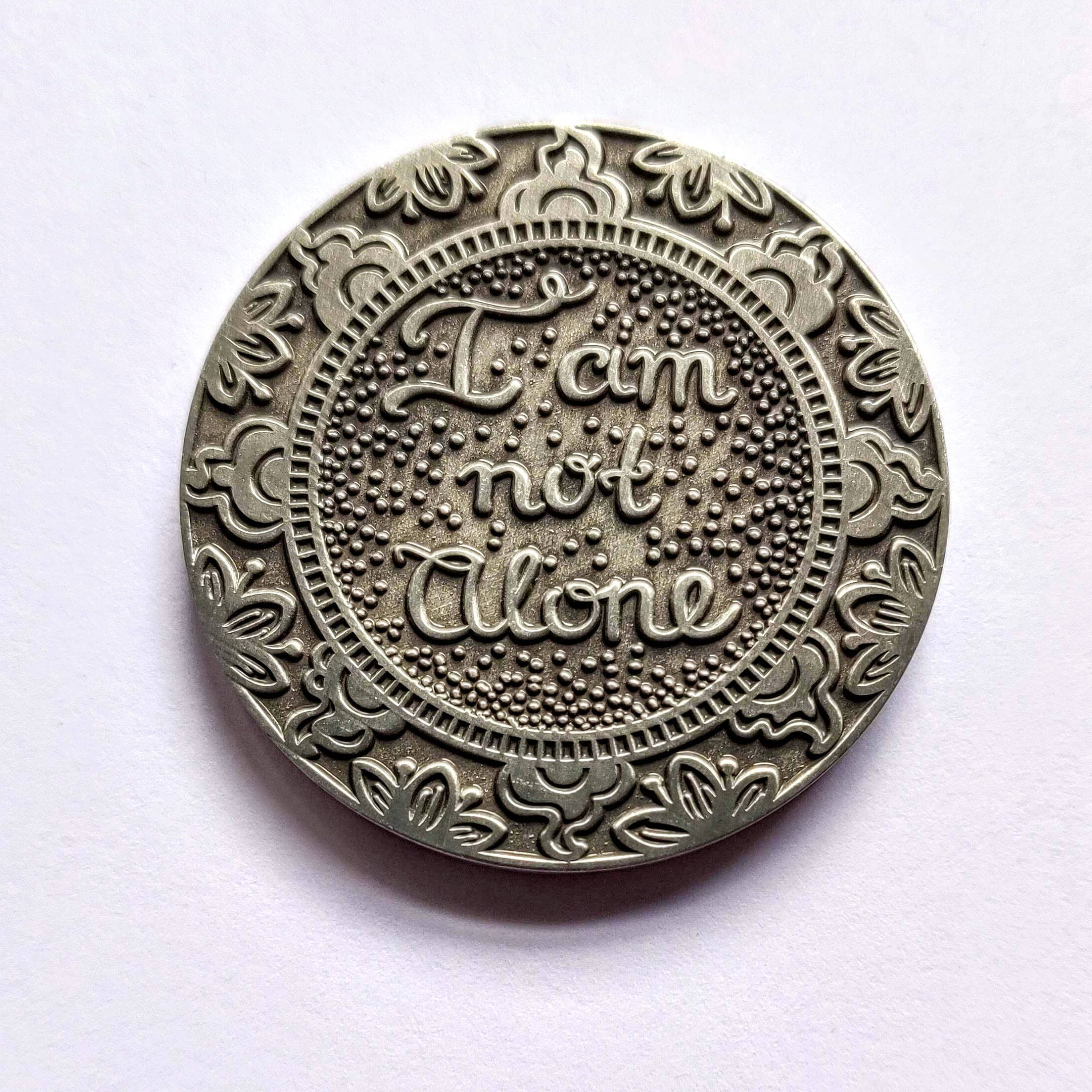 I Am Not Alone Mantra Medallion Antique Silver | Trada Marketplace