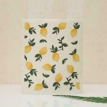 Lemons with Leaves Swedish Dishcloth   Trada Marketplace