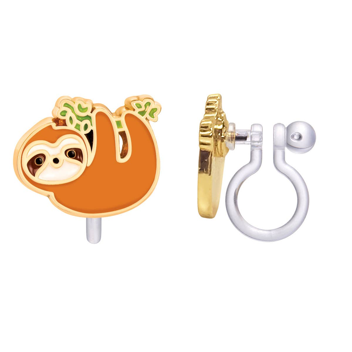 CLIP ON Cutie Earrings- Playful Sloth | Trada Marketplace