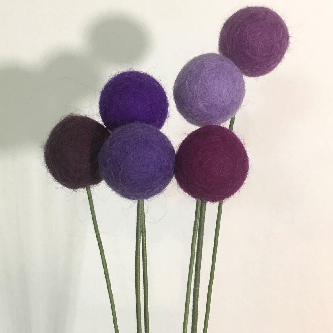 Bouquet Felt Flower Pom Poms - Purple Power   Trada Marketplace