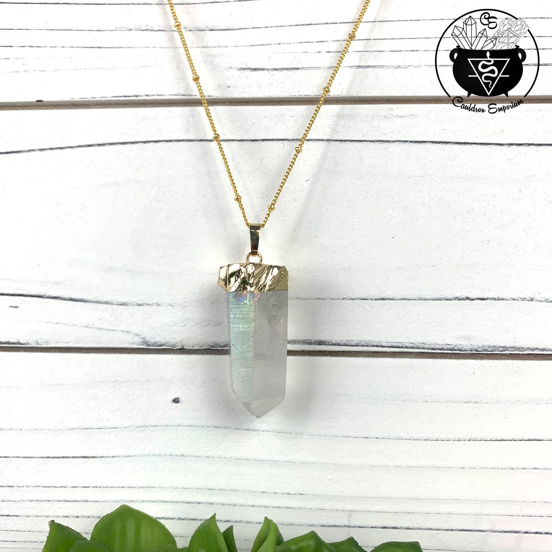 Aura Clear Quartz Gold Necklace | Trada Marketplace