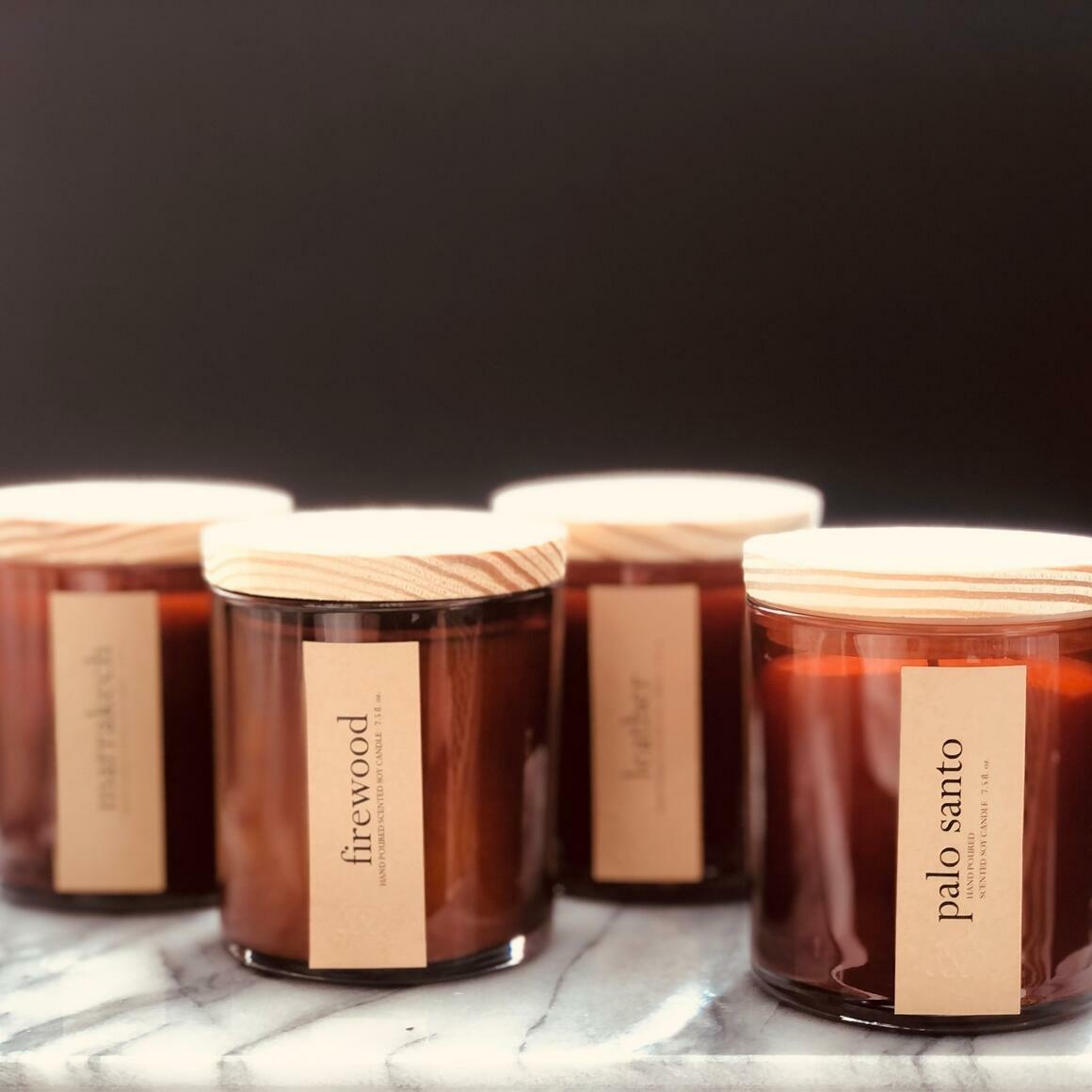 Minimalist Scented Candles - Amber Glass / Lid | Trada Marketplace