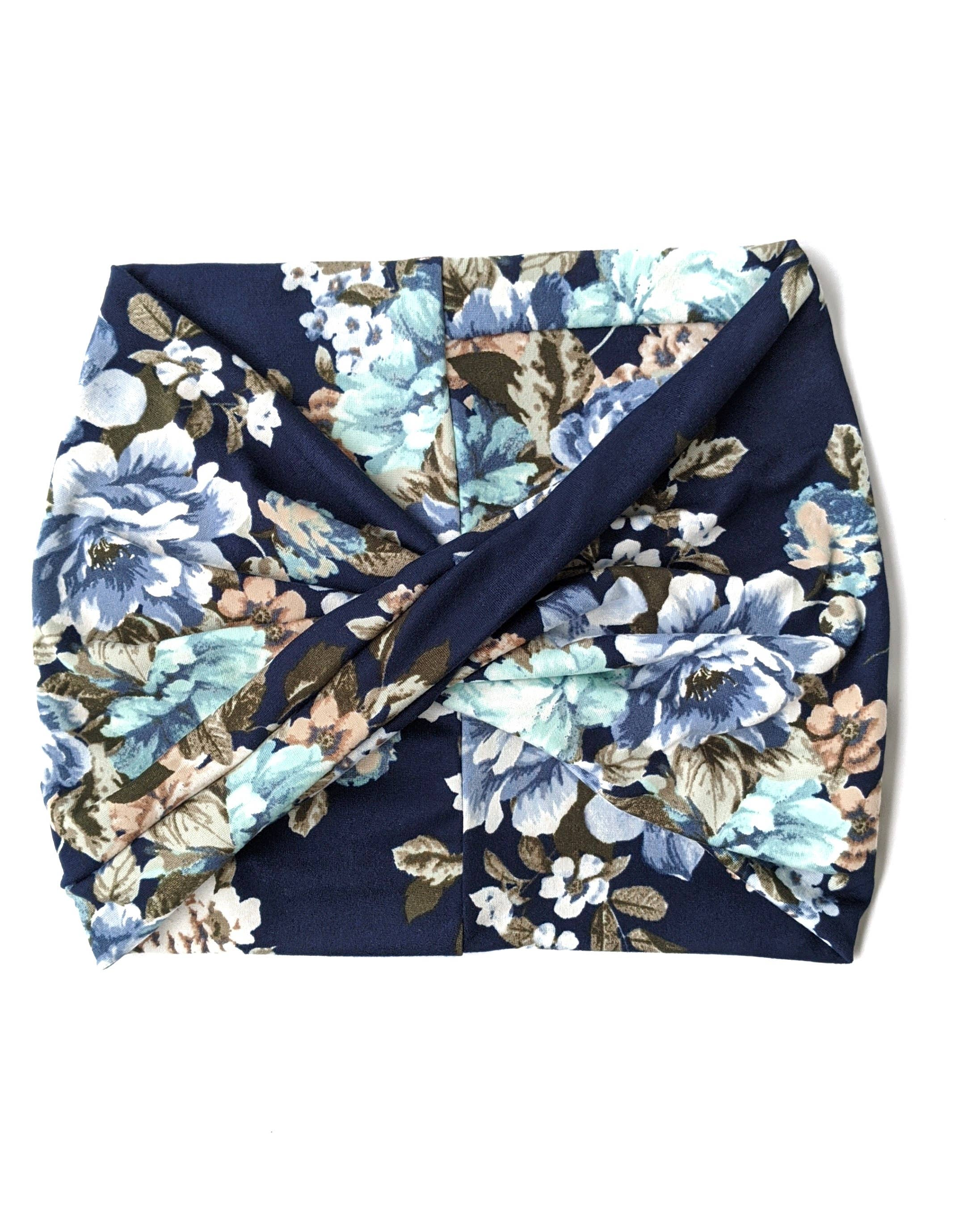 Navy Bouquet Floral - Wide Headband | Turban | Twist | Yoga | Trada Marketplace