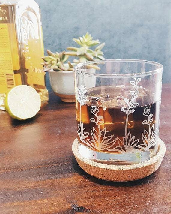 Agave Succulent Cactus Etched Whiskey Glass   Trada Marketplace