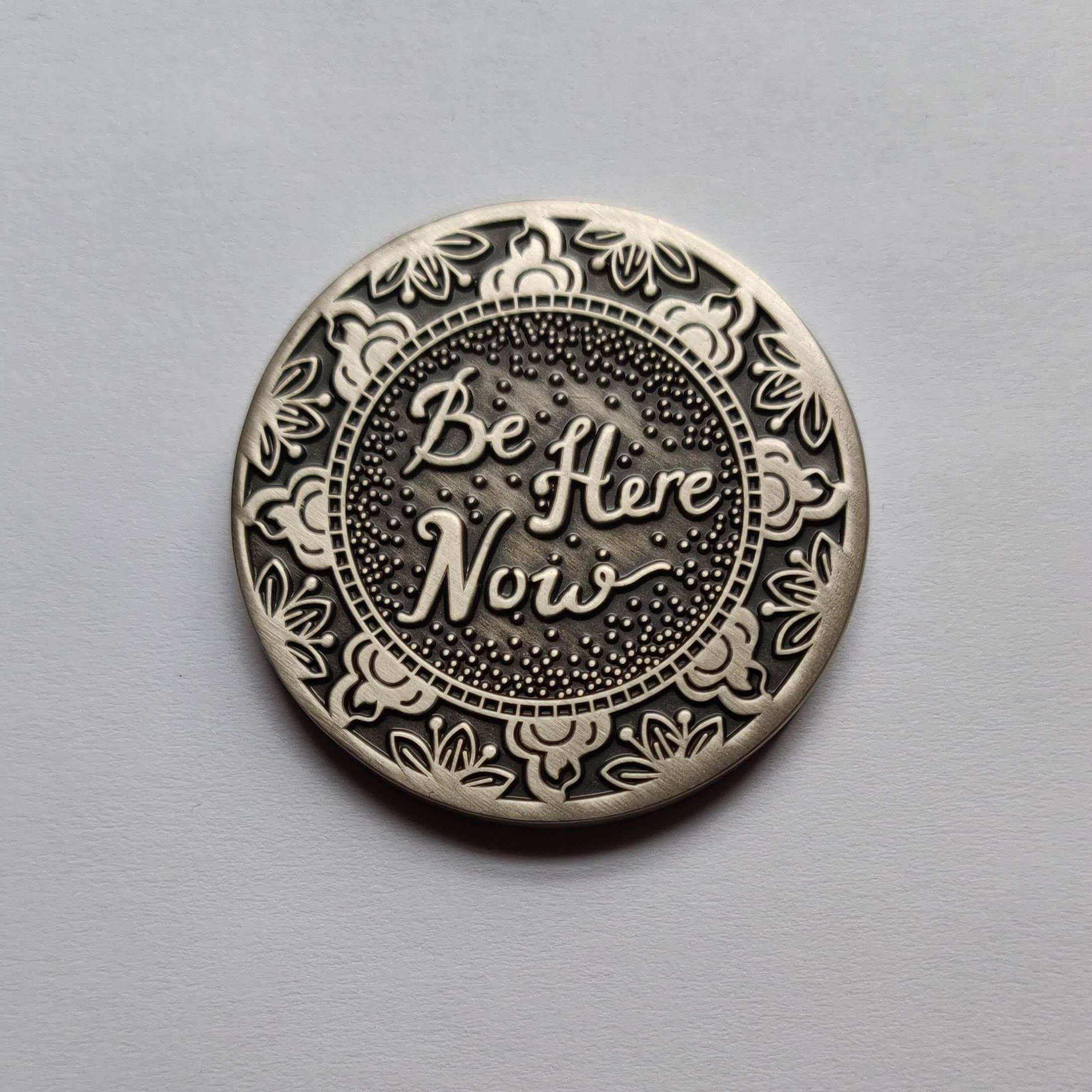 Be Here Now Mantra Medallion - Mindfulness, Meditation Tool | Trada Marketplace