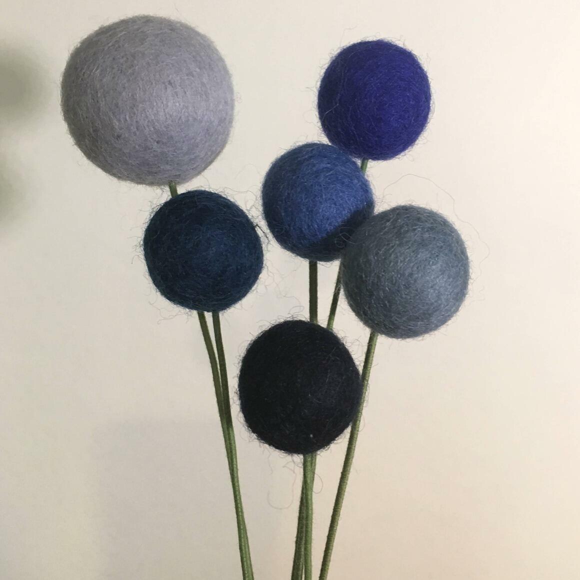 Bouquet Felt Flower Pom Poms - True Blue   Trada Marketplace