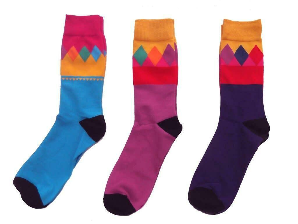 Multicolor Fun Adult Sock Set (Yellow, Purple, Aqua) | Trada Marketplace