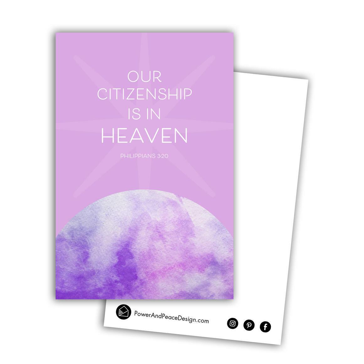 Philippians 3:20 postcard in lavender   Trada Marketplace