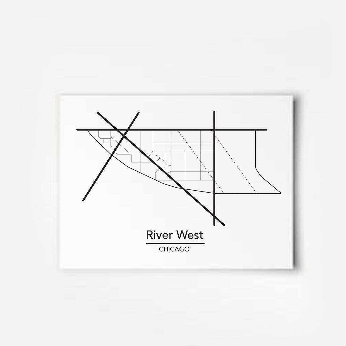 River West - Chicago Neighborhood Map Print | Trada Marketplace