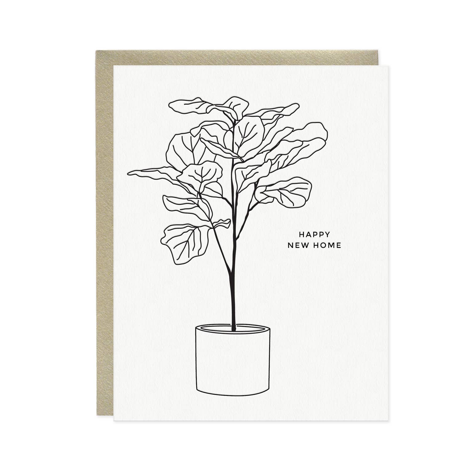 Linework Fiddle Leaf Fig Tree New Home Card | Trada Marketplace