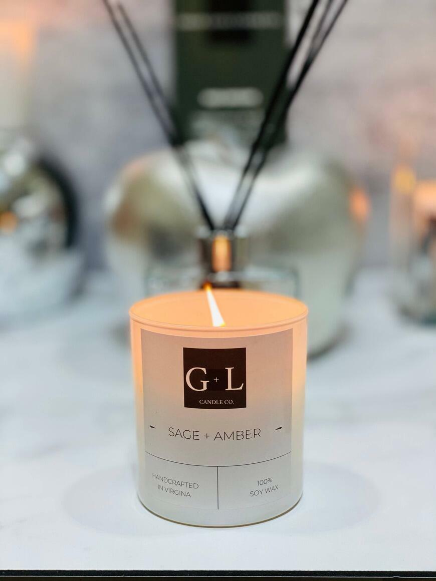 Sage + Amber - 8 oz. Candle   Trada Marketplace
