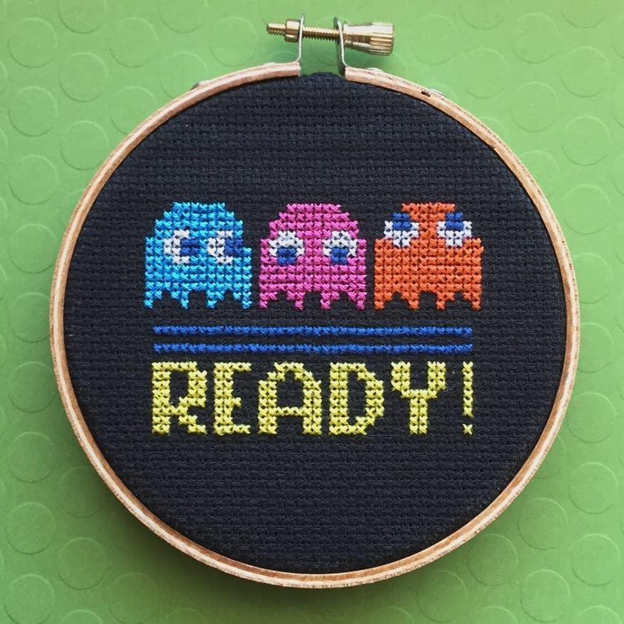 Pac Man Game Counted Cross Stitch DIY KIT   Trada Marketplace