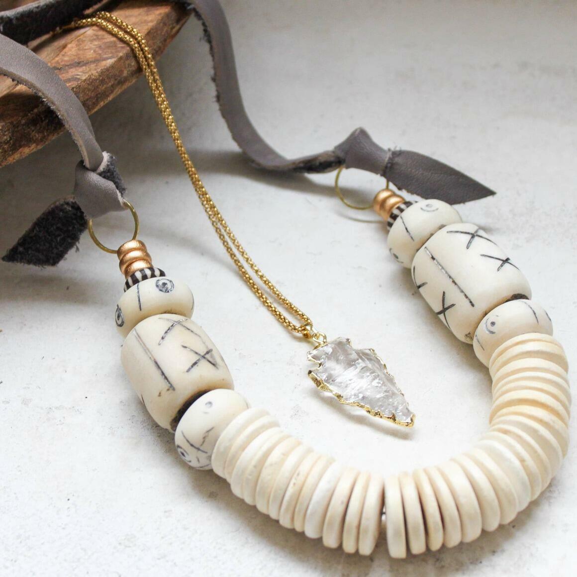 Coconut + Bone Bead Statement Necklace. Fair Trade   Trada Marketplace