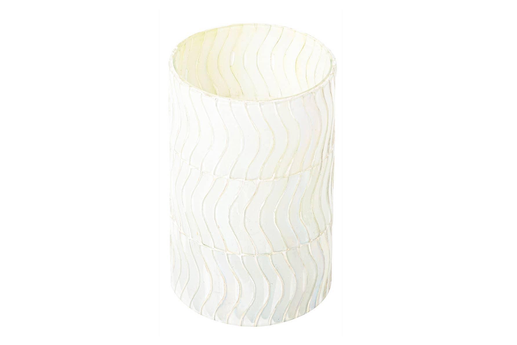 Wavy Pearl Mosaic Glass Votive and Vase   Trada Marketplace