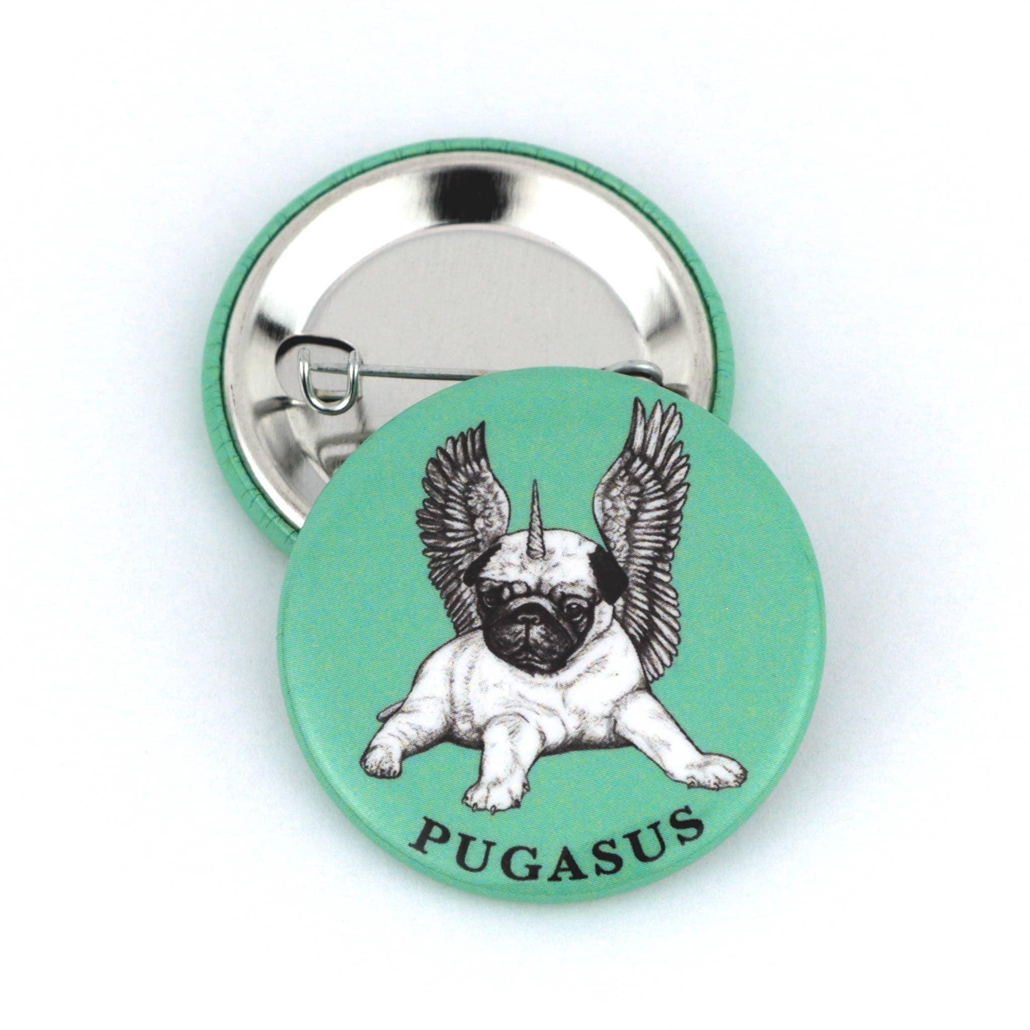 "Pugasus 1.5"" Pinback Button   Trada Marketplace"