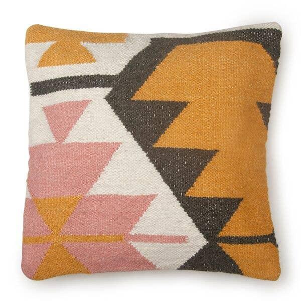 Desert Kilim Geometric Pillow, Blush - 18x18 Inches   Trada Marketplace