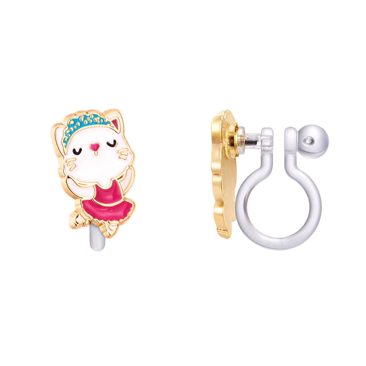 CLIP ON Cutie Earrings- Ballerina Kitty | Trada Marketplace