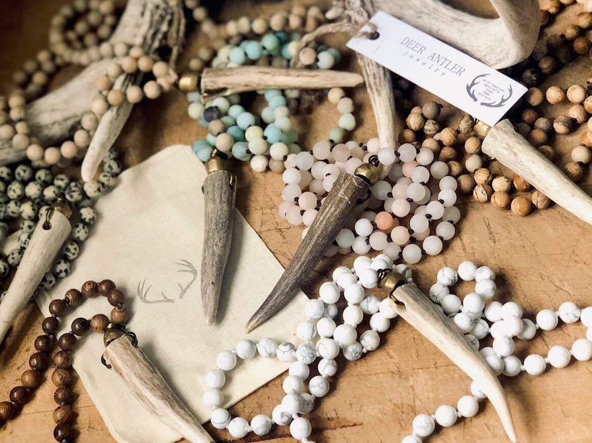 Deer Antler Knotted Gemstone Necklace -Southern Style   Trada Marketplace