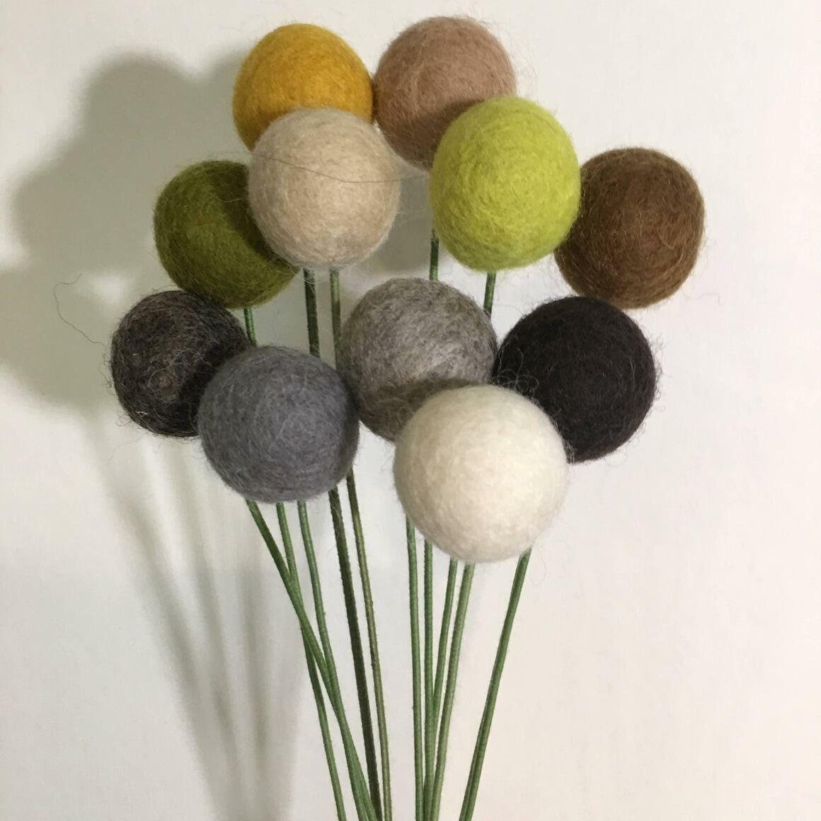 Bouquet Felt Flower Pom Poms - Designer Neutrals   Trada Marketplace