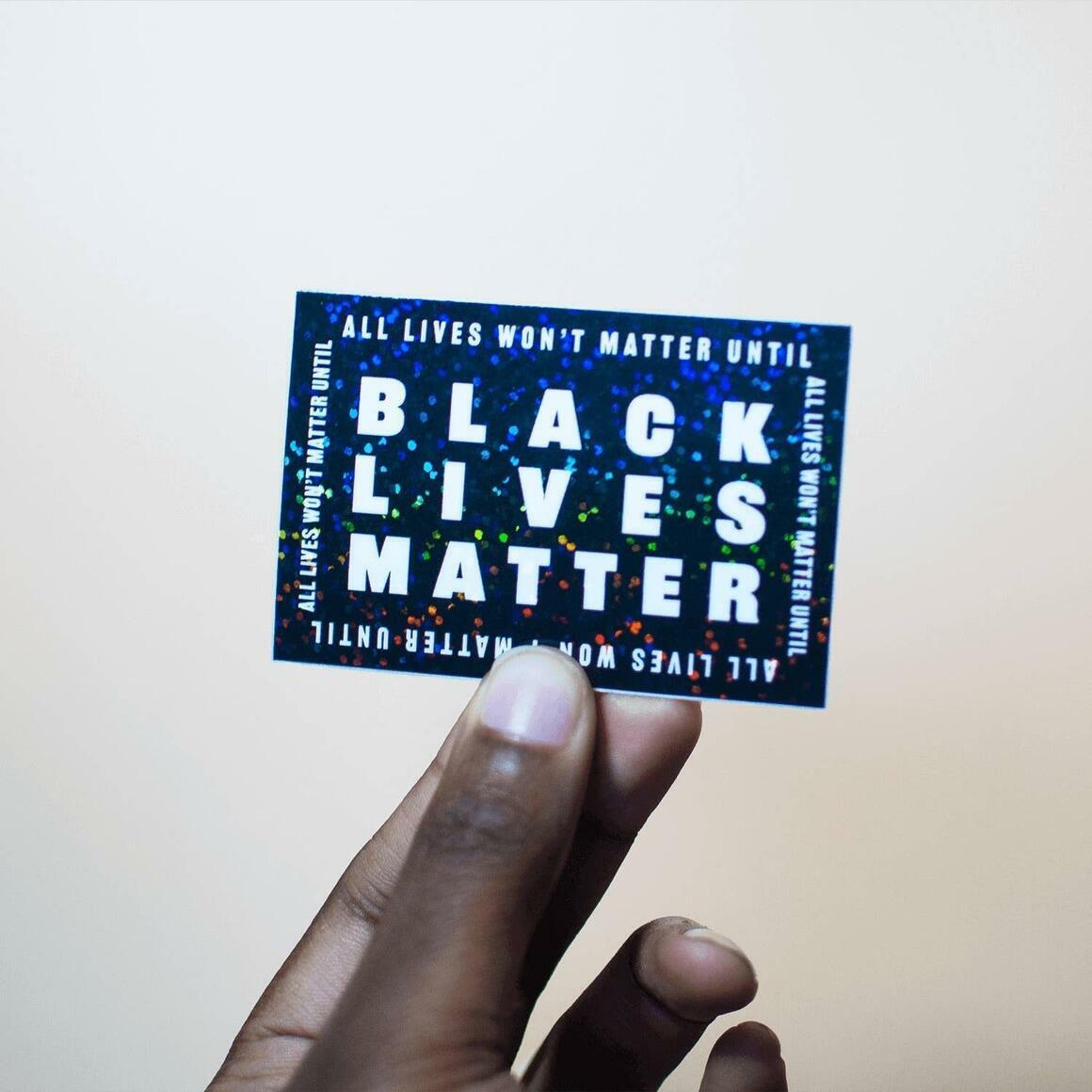 Black Lives Matter — Black Glitter Sticker | Trada Marketplace