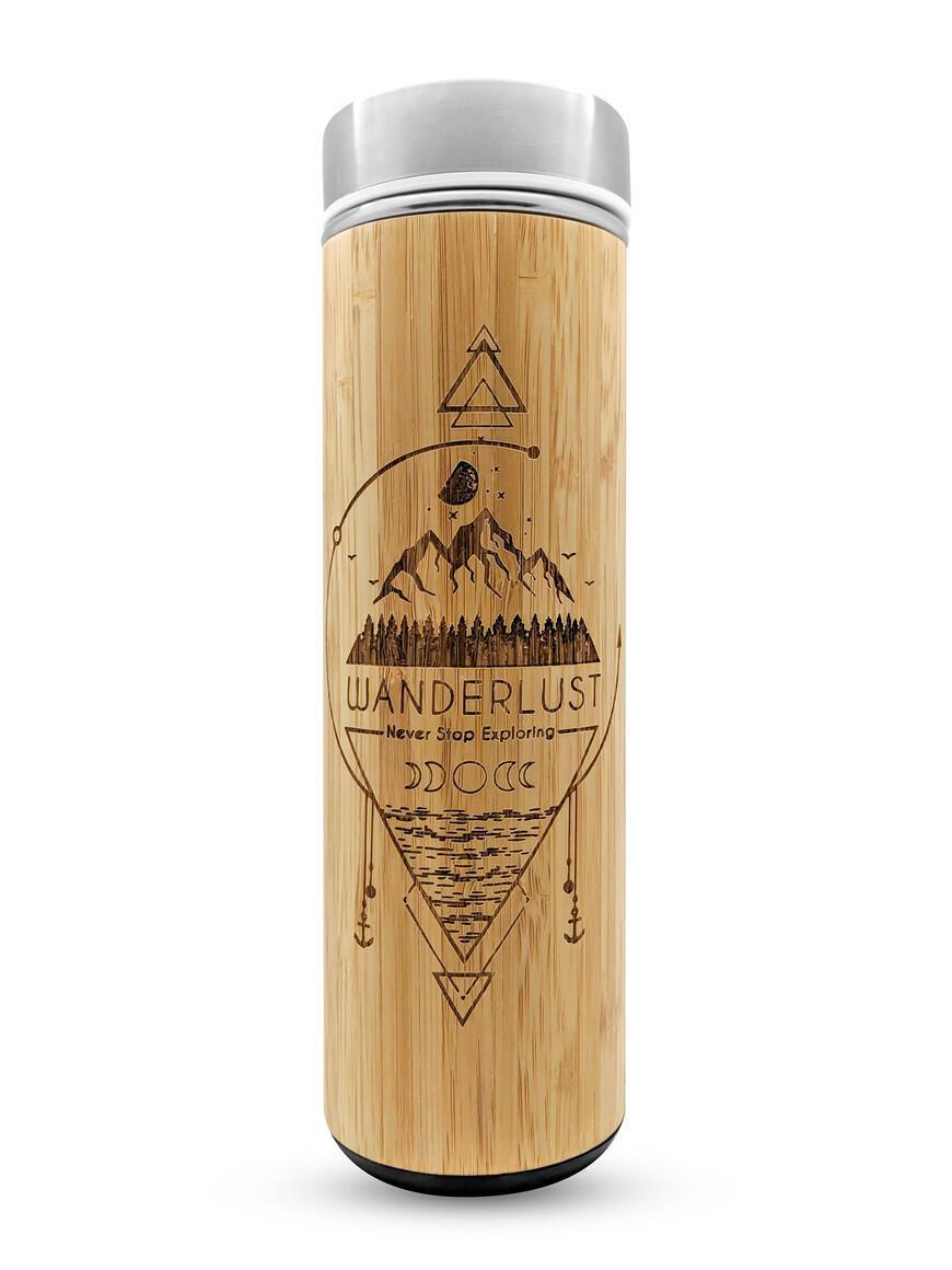 17.9oz WANDERLUST Bamboo Water Bottle | Trada Marketplace