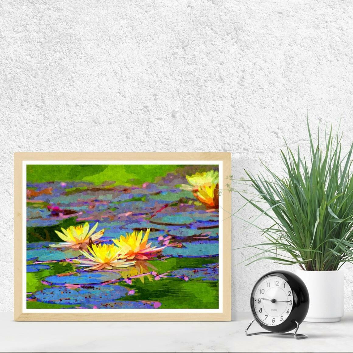 """Yellow Water Lilies"" Fine Art Print | Trada Marketplace"