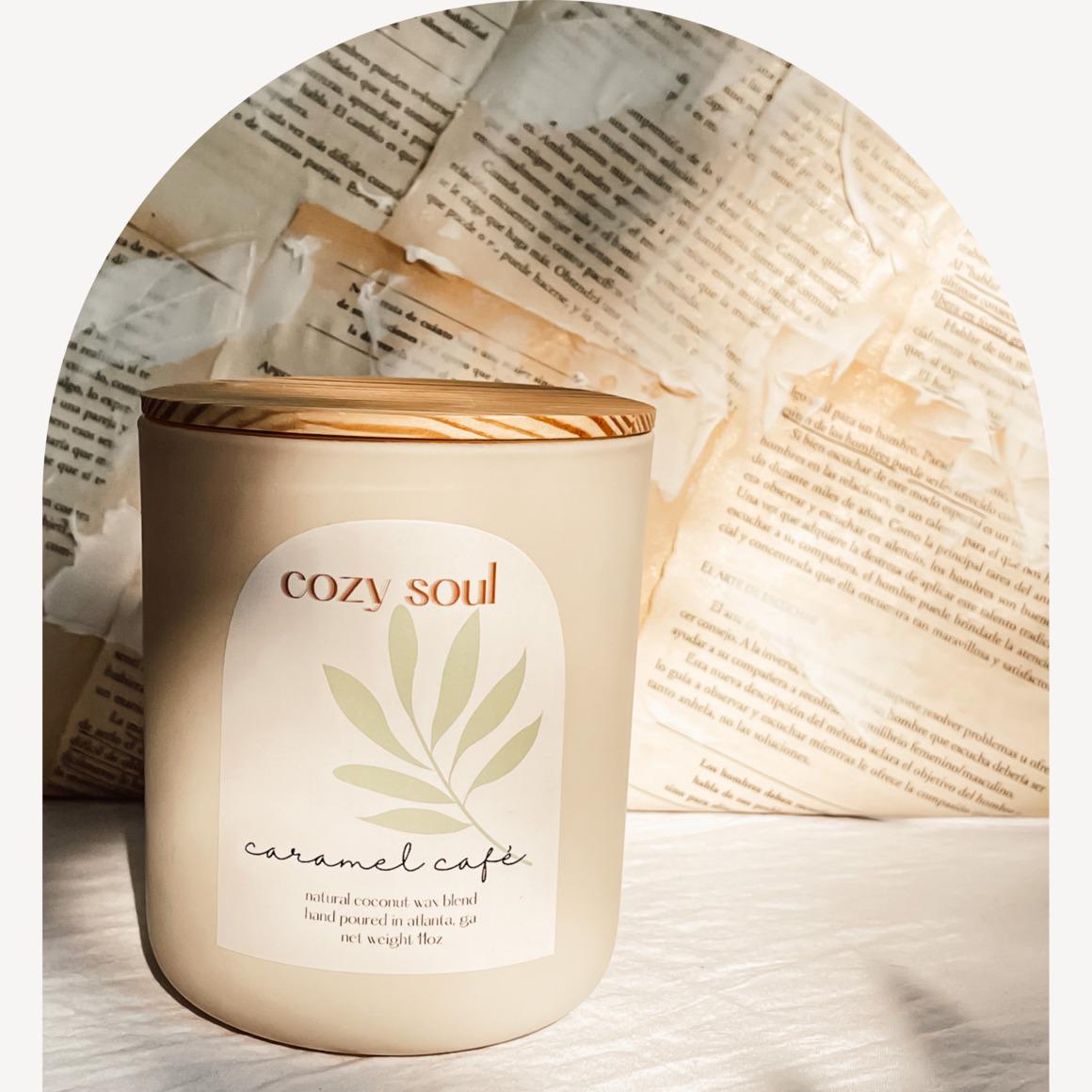 Caramel Café 11oz | Glass Jar | Wooden Wick | Non-toxic | Wooden Lid | Trada Marketplace
