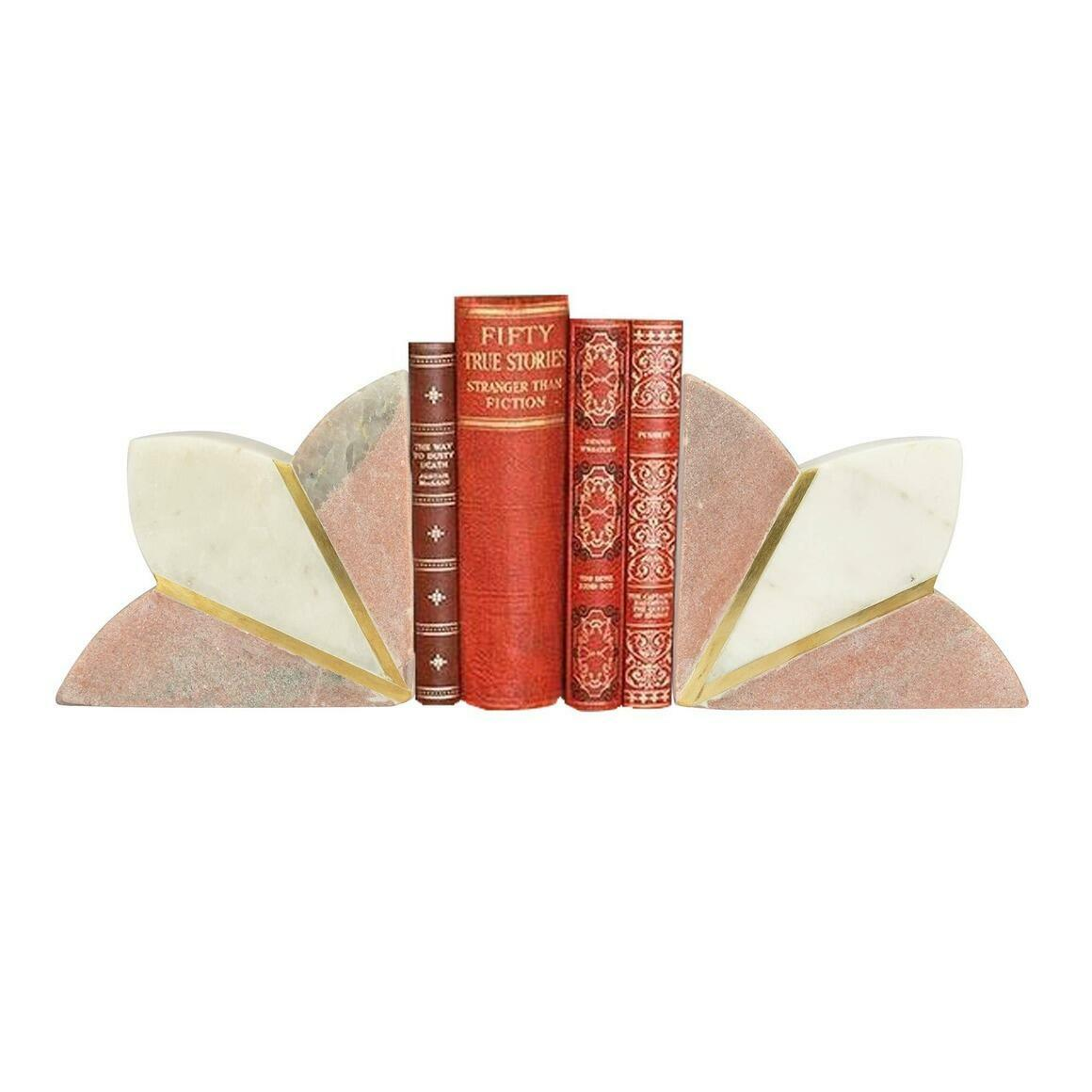 Floret Pink Marble Bookend (Set of 2)   Trada Marketplace