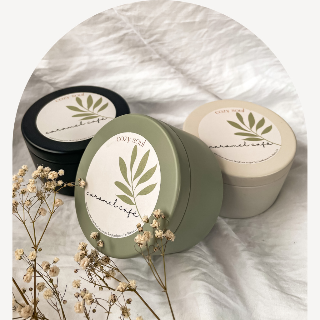 Caramel Café 5oz | Tin Jar | Wooden Wick | Non-toxic  | Trada Marketplace
