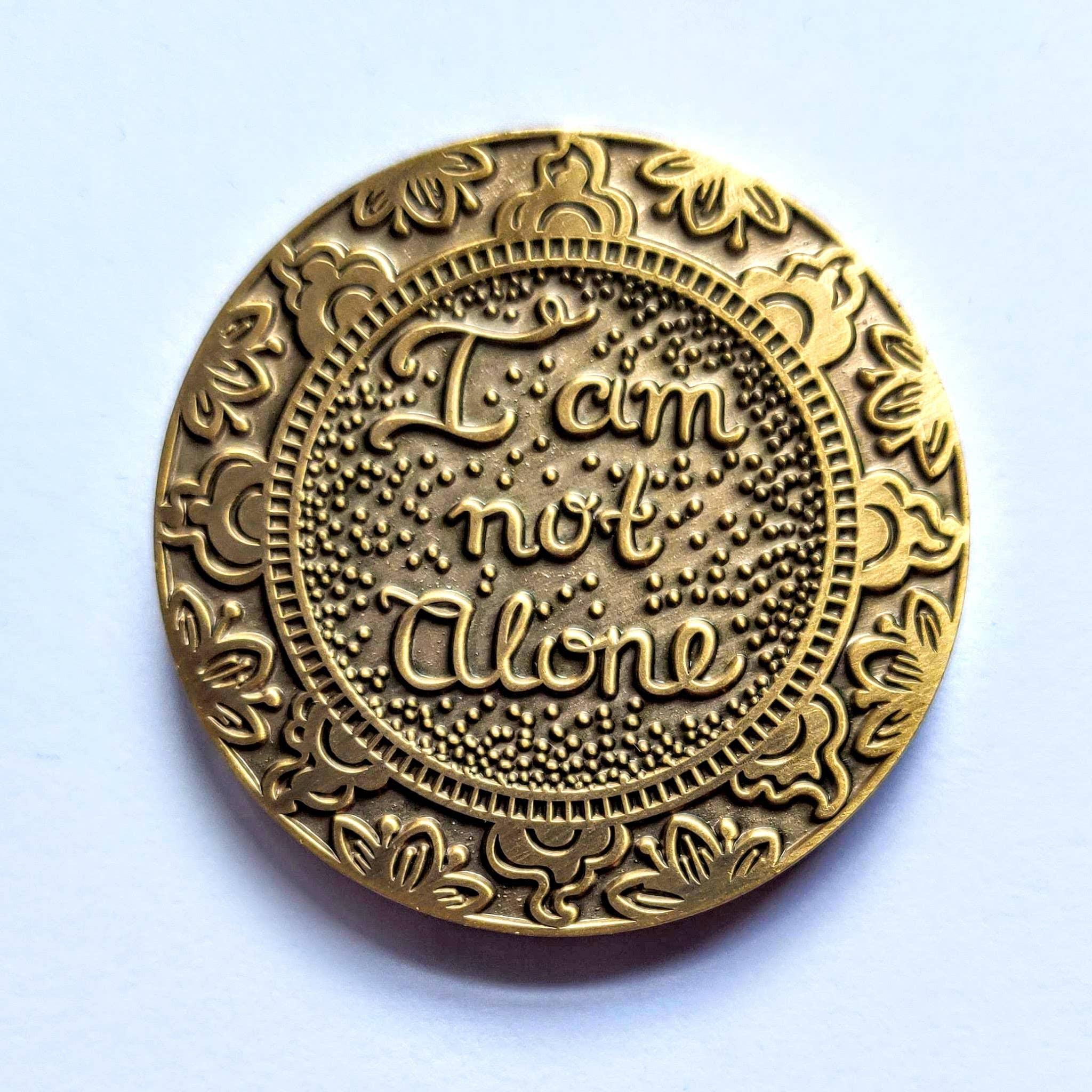 I Am Not Alone Mantra Medallion Antique Gold | Trada Marketplace
