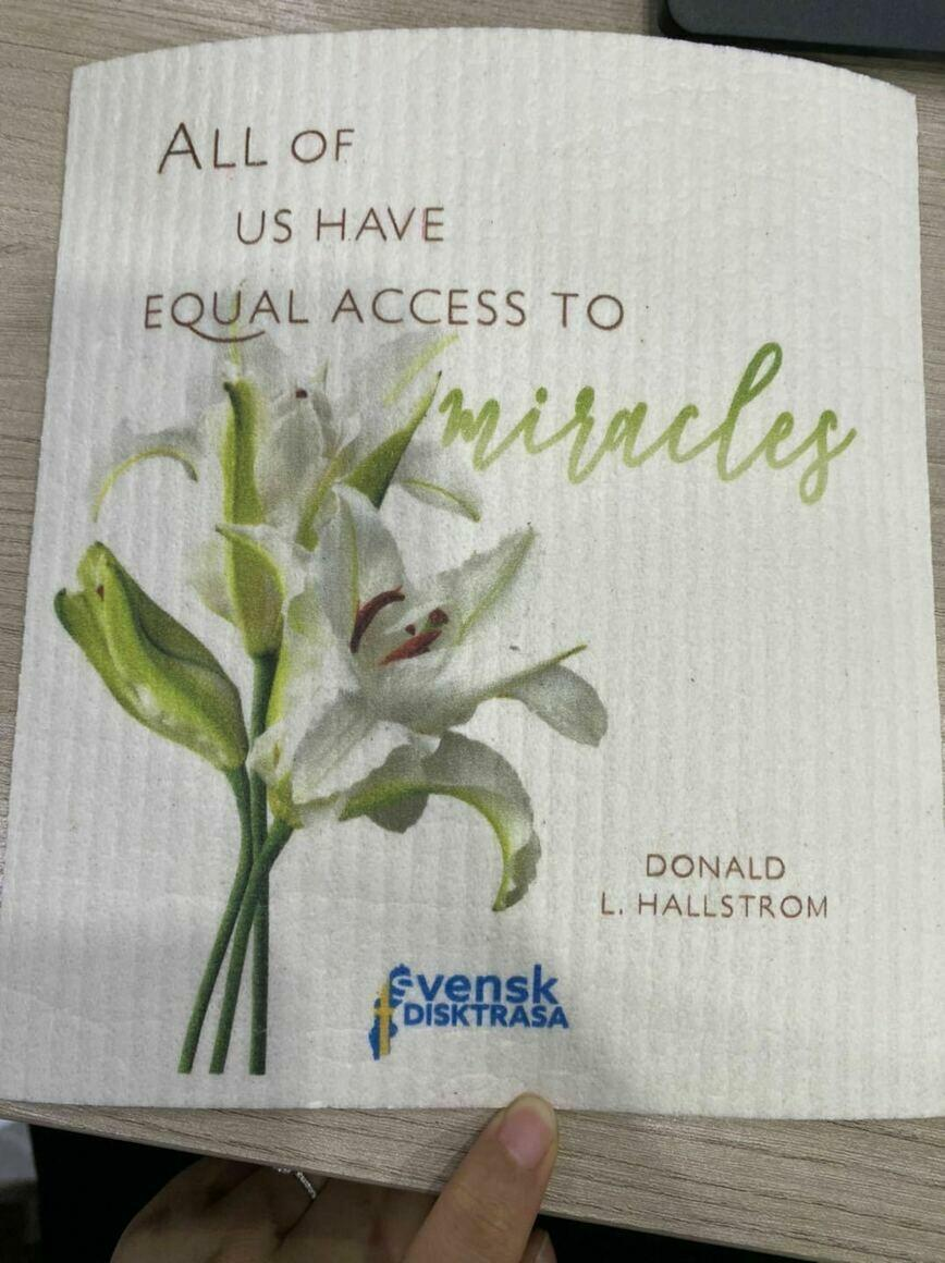 """""""All of Us Have Equal Access to Miracles"""" Swedish Dishcloth   Trada Marketplace"""