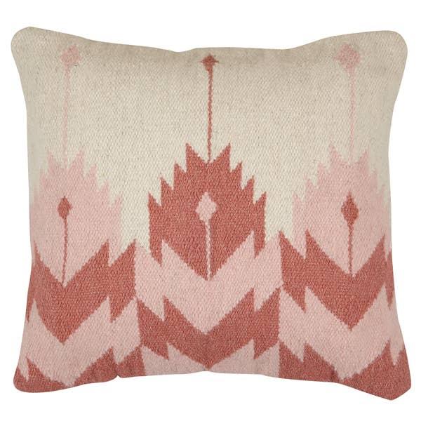 Handmade Rosette Kilim Pillow, Blush - 18x18 inch   Trada Marketplace