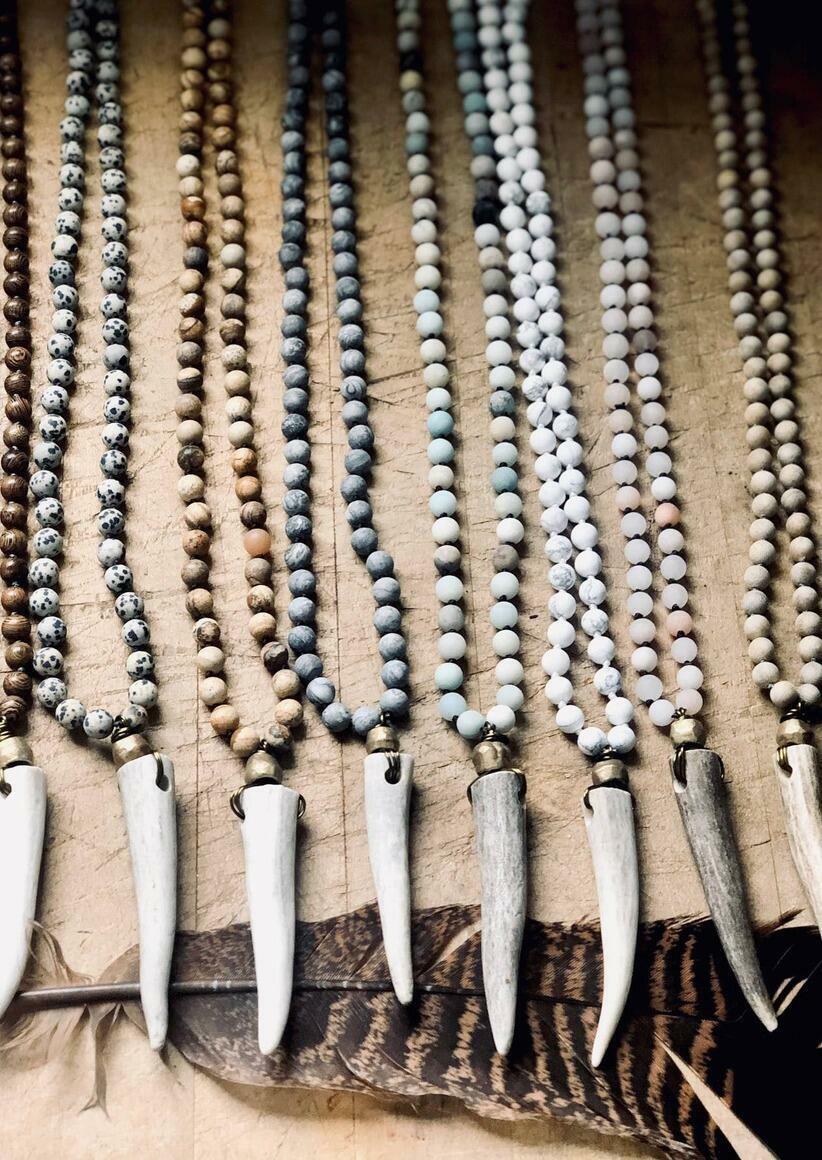 Boho Knotted Gemstone Deer Antler Necklace -Southern Style   Trada Marketplace