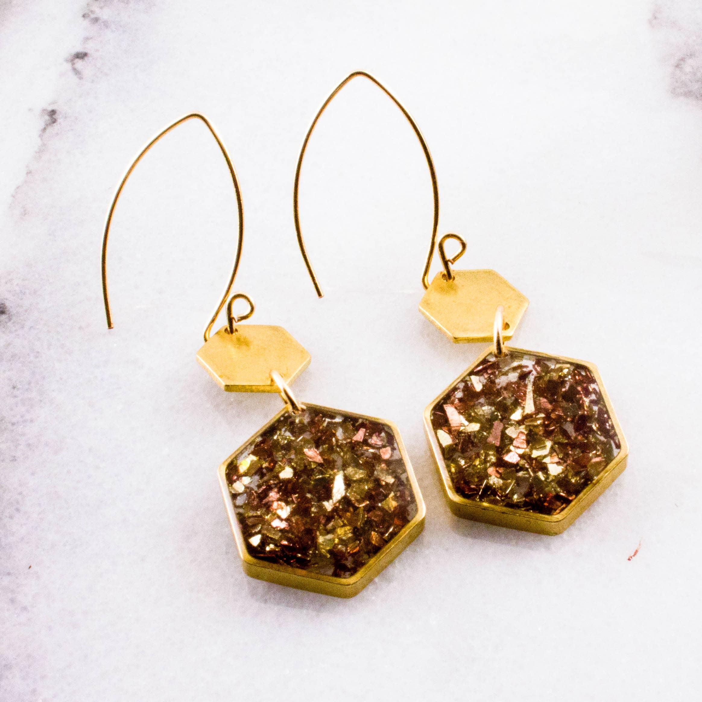 Gold + Copper Glass Glitter Honeycomb Brass Earrings   Trada Marketplace