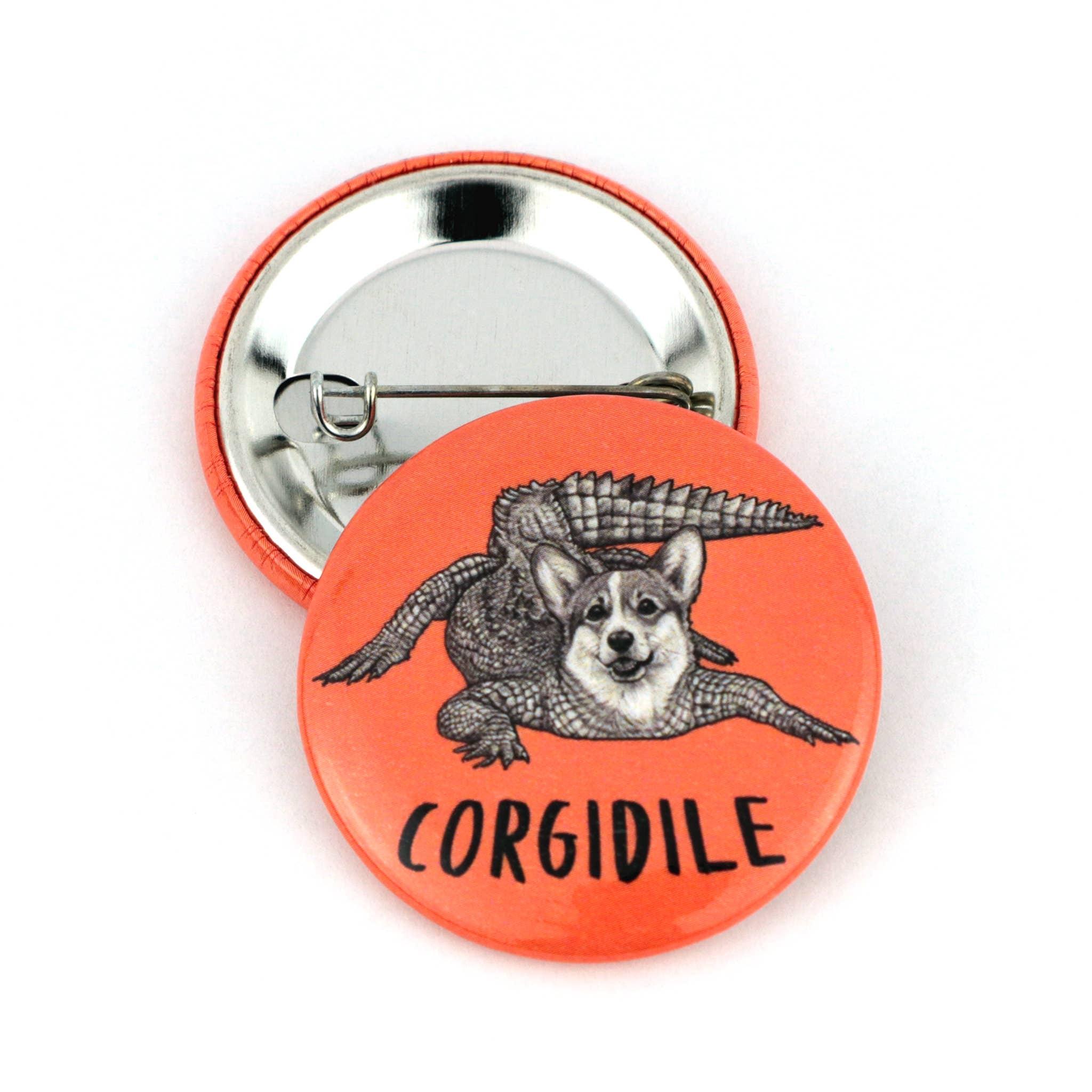 "Corgidile 1.5"" Pinback  Button   Trada Marketplace"