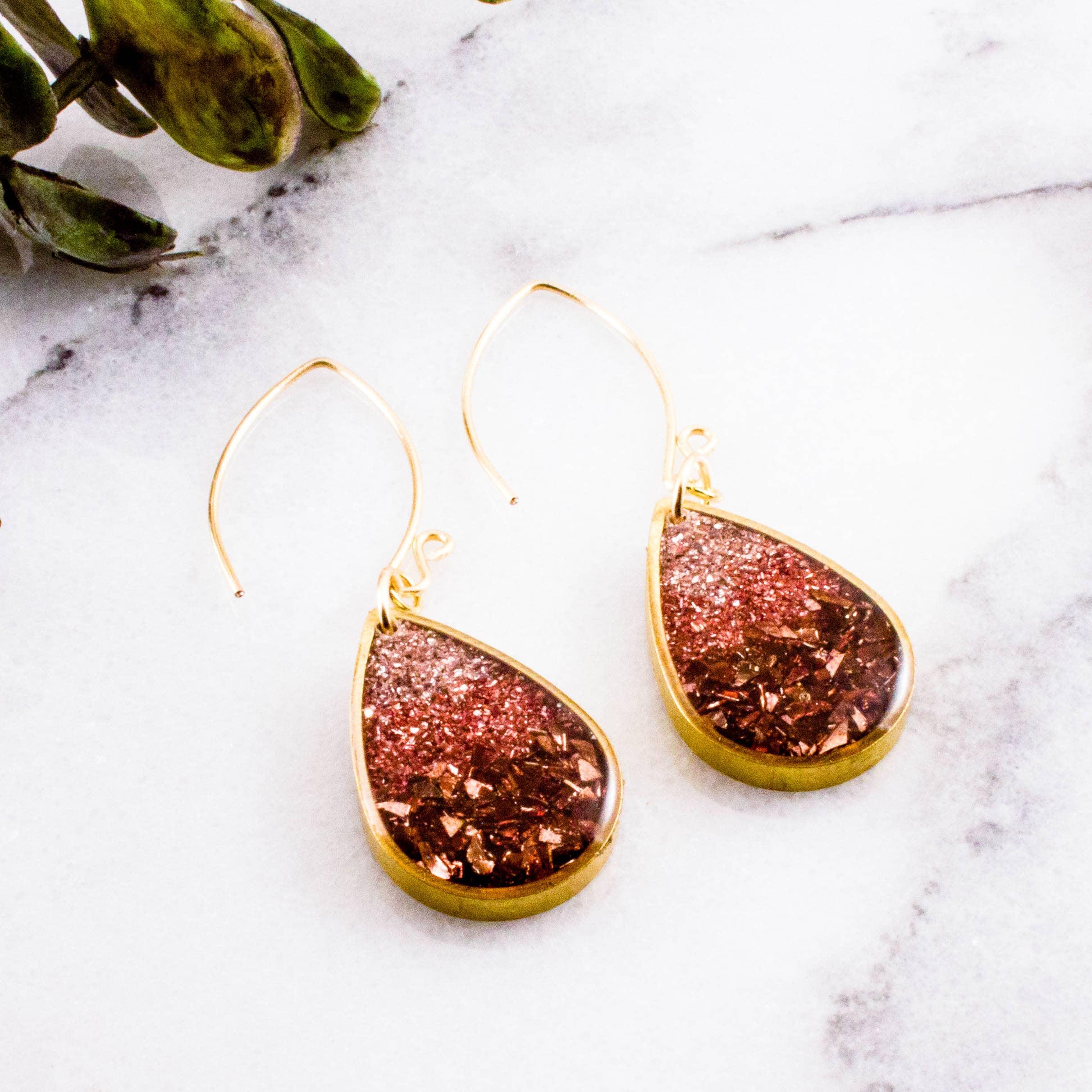 Blush + Copper Glass Glitter Raindrop Earrings   Trada Marketplace