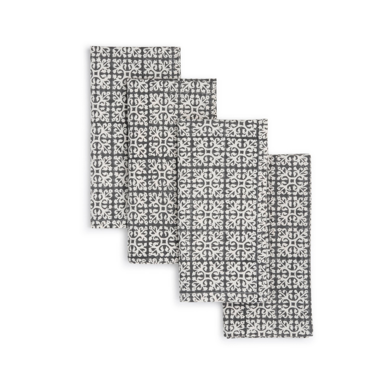 BROWNIE Napkin  (set of 4), Hand Block Printed Cotton | Trada Marketplace