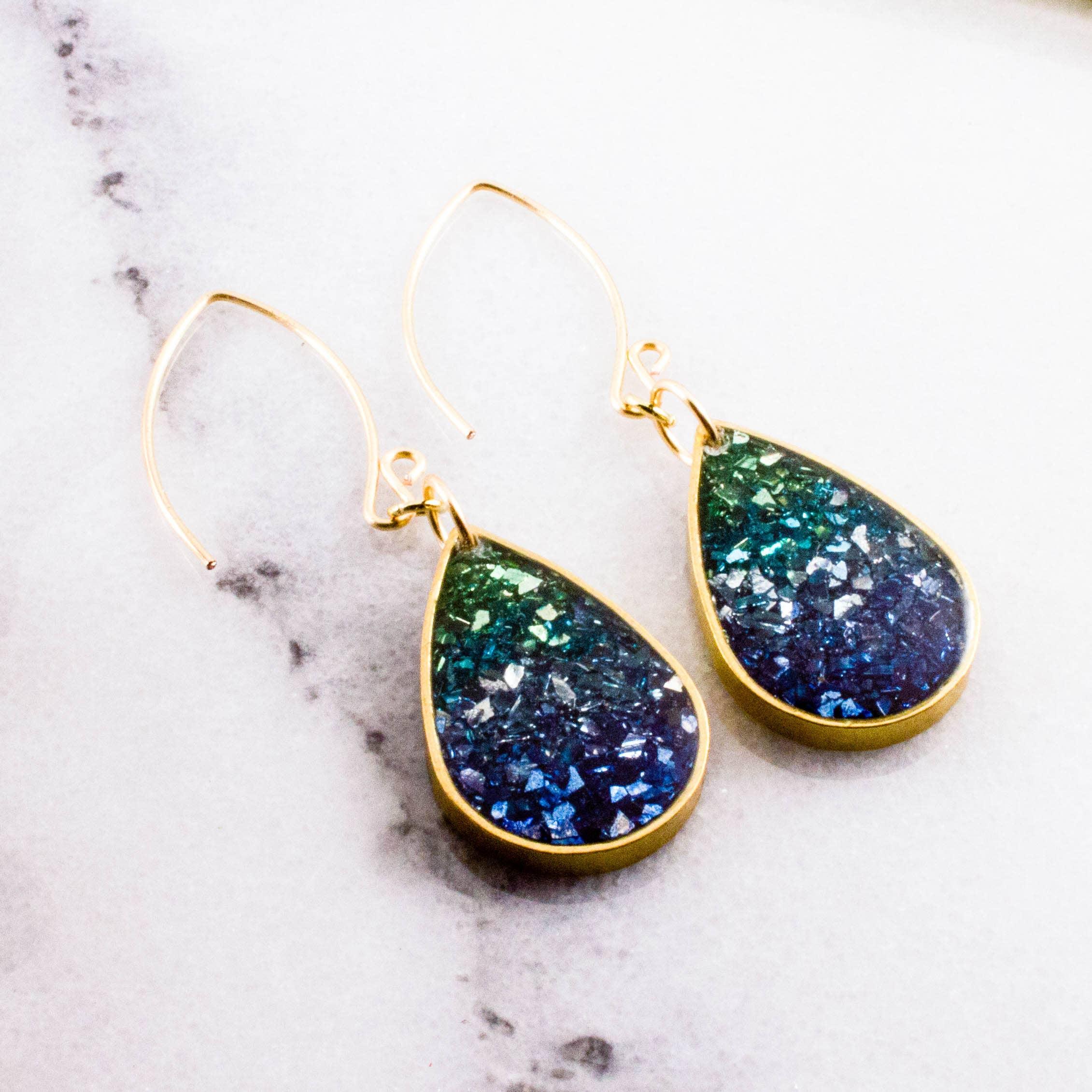 Blue + Green Glass Glitter Raindrop Earrings   Trada Marketplace