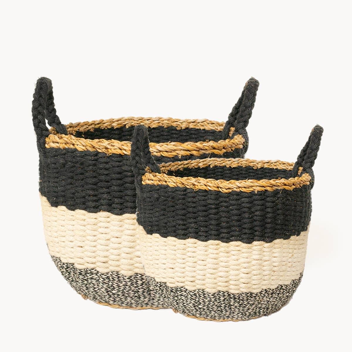 Ula Stripe Basket - Black (Set of 2) | Trada Marketplace