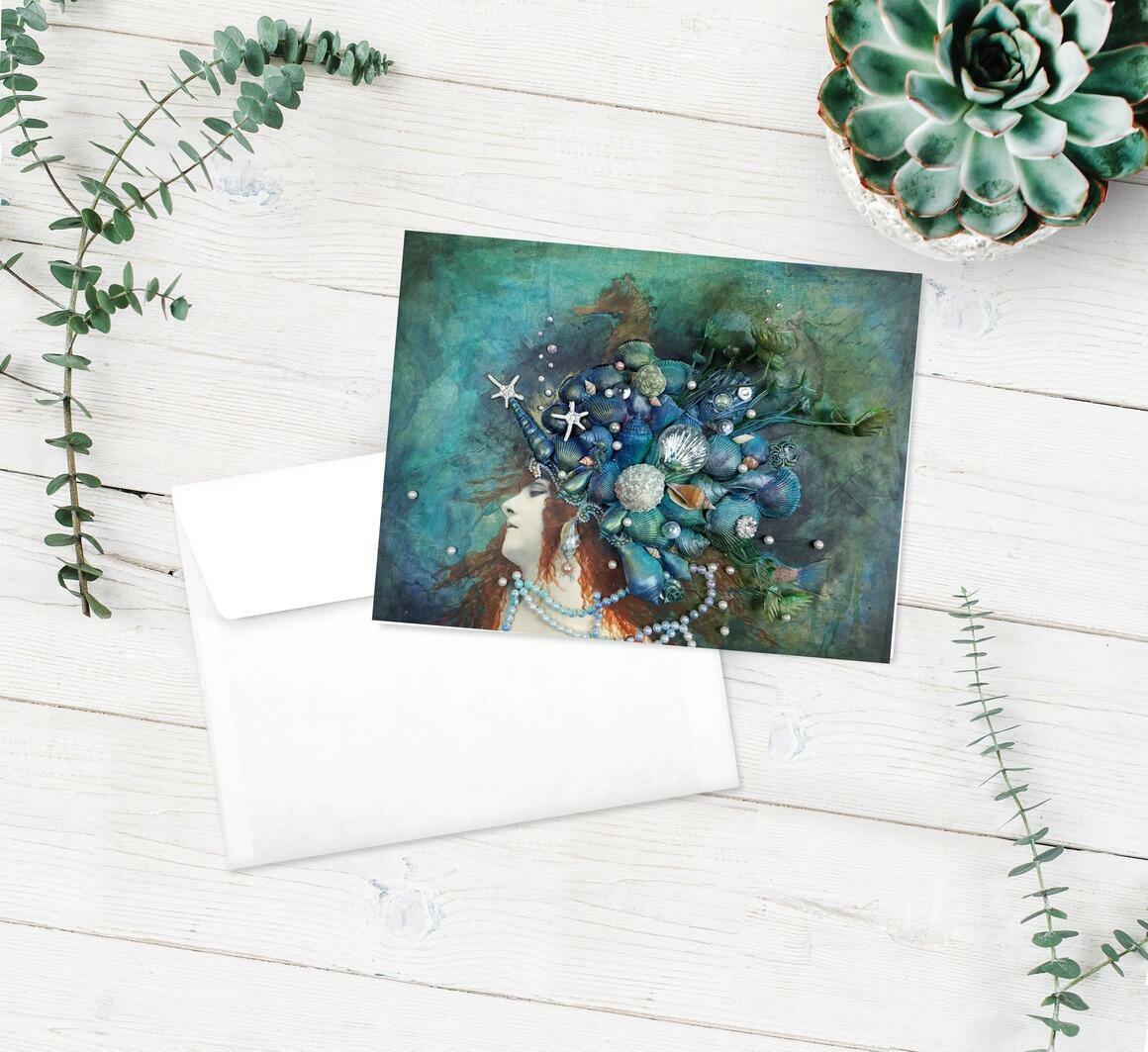 Mermaid Crown Greeting Cards pkg of 5   Trada Marketplace