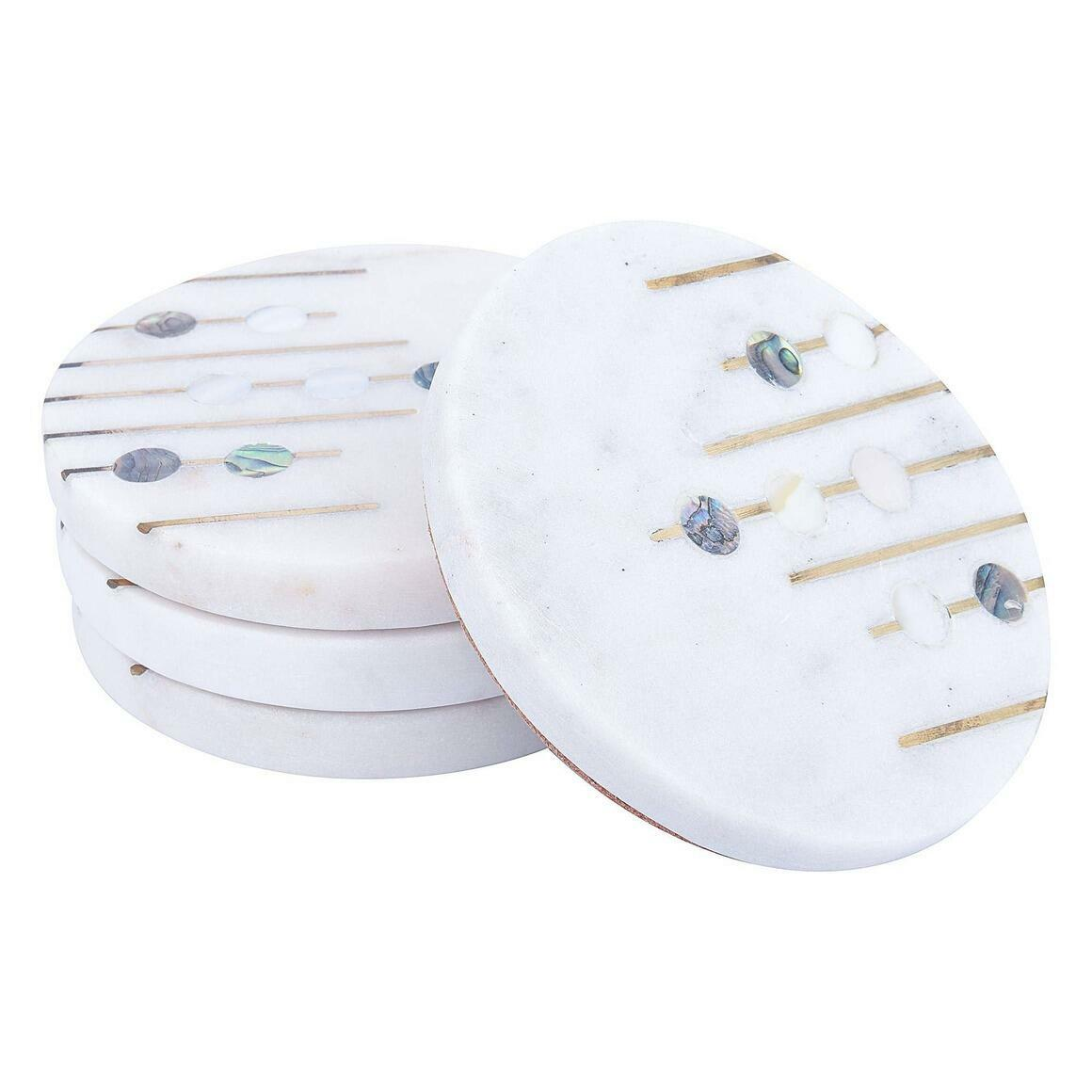 Abruzzo White Marble Coasters (Set of 4)   Trada Marketplace