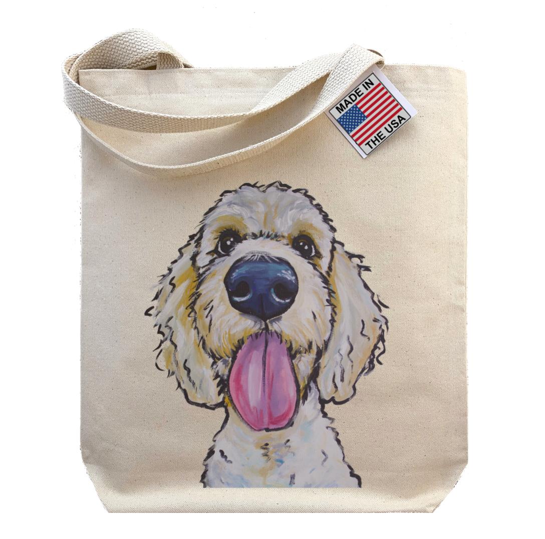Gusseted Tote Bag, Golden Doodle Shopping Bag, Dog Tote Bag   Trada Marketplace
