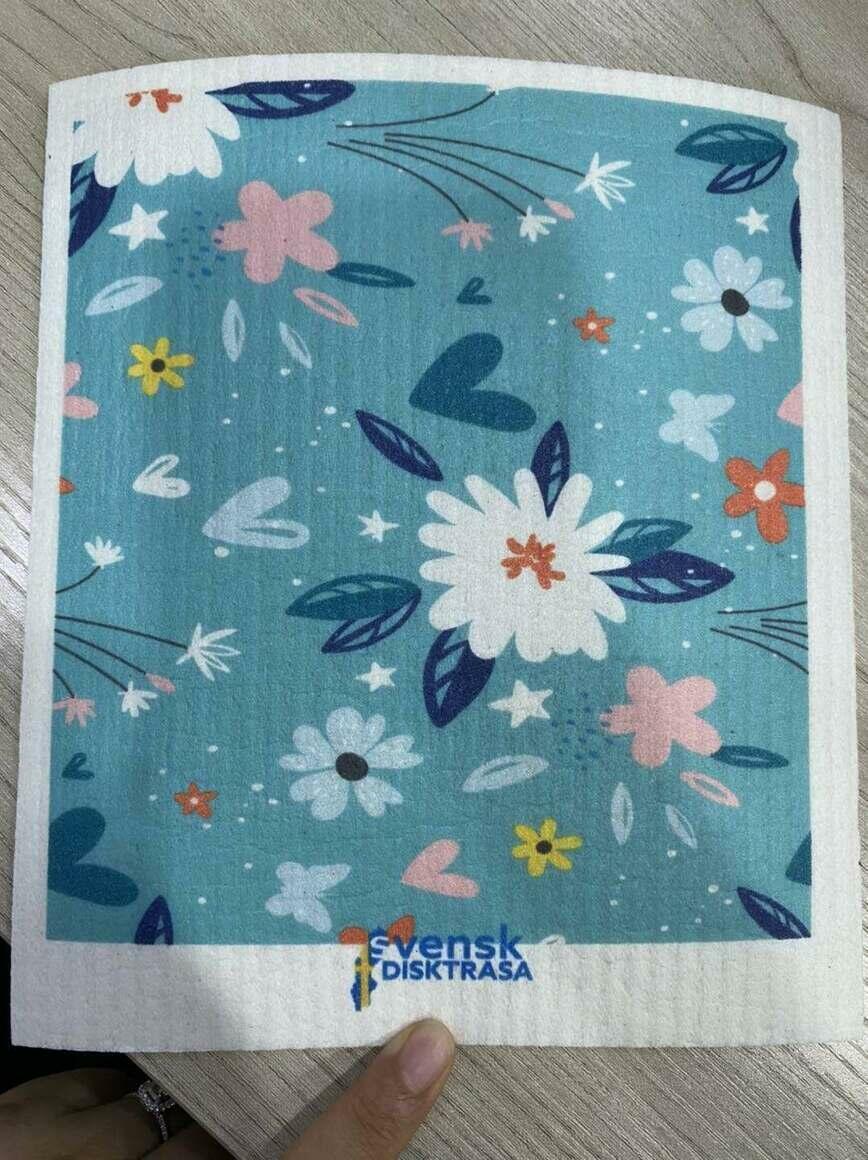 Spring Flowers on Blue Swedish Dishcloth   Trada Marketplace