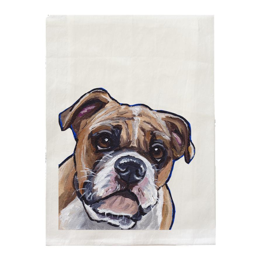 English Bull Tea Towel, Dog Lover Kitchen Decor, Dog Gifts   Trada Marketplace