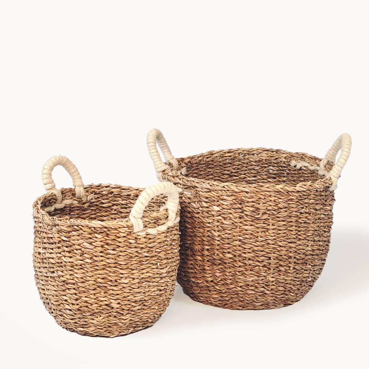 Savar Basket with White Handle (Set of 2) | Trada Marketplace
