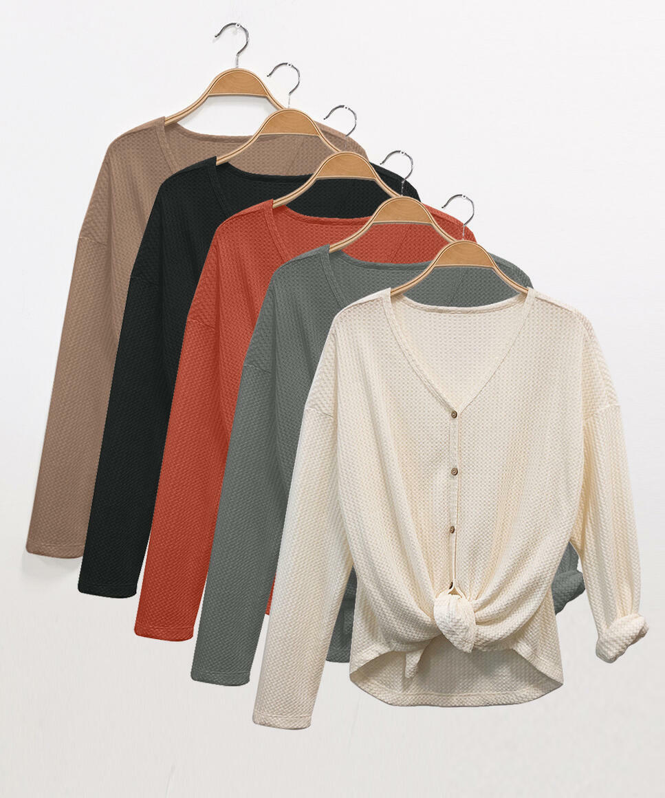 WAFFLE BUTTONUP DOLMAN TOP (Size Prepack: 1–2–2–1;SMALL–MED–LARGE–XLARGE)   Trada Marketplace